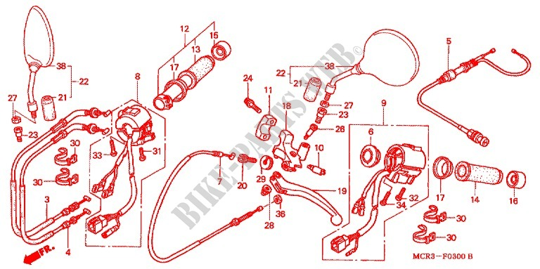 LEVER   SWITCH   CABLE (2) для Honda BLACK WIDOW 750 2002