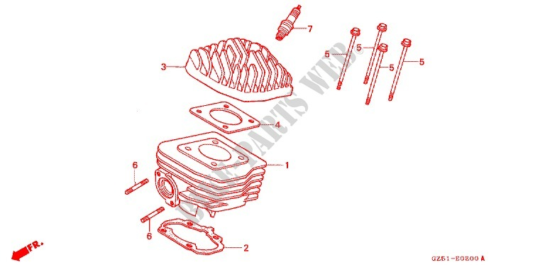CYLINDER HEAD   CYLINDER для Honda TACT 50 STAND UP 1990